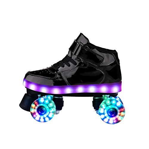 ZXSZX Rodillos Mujeres Patines Roller Girl Scooter Patines con LED Luz Línea Doble Línea Patines 4 Ruedas Dos Zapatos De Patinaje Línea para Adultos,Black-29