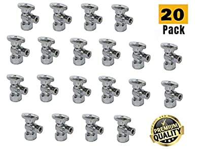 "1/2-in Nominal (5/8"" OD Comp) x 3/8-in OD Outlet Chrome Plated Brass 1/4-Turn Angle Stop Shutoff Ball Valve (20-Pack) by TALENT INTERNATIONAL TRADING"