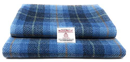 Harris Tweed Authentisches Traditionelles Stoff Aus 100% Reine Wolle mit Echtheitsetiketten (Blau Tartan, 25 x 30cm)