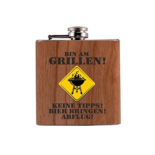 Trendagentur KEPPLINGER Flachmann Metall/Holz Bedruckt anstelle Gravur - mit Echtholzfurnier ummantelt - Bin am Grillen - Keine Tipps! Bier bringen! Abflug!