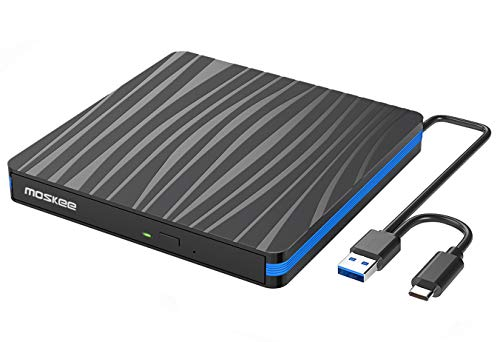 Tragbar Externe DVD Laufwerk,CD-Brenner USB 3.0 und Type-C,kompatibel mit Win10 /8/7/XP,Laptop,Mac/MacBook Air/Pro/iMac/PC
