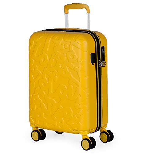 Lois - Maleta Pequeña de Cabina para Viaje. Puerto de Carga USB. 4 Ruedas Dobles Trolley 55 cm. ABS. Equipaje de Mano. Rígida, Cómoda y Ligera. Low Cost. Candado TSA. 171150, Color Mostaza