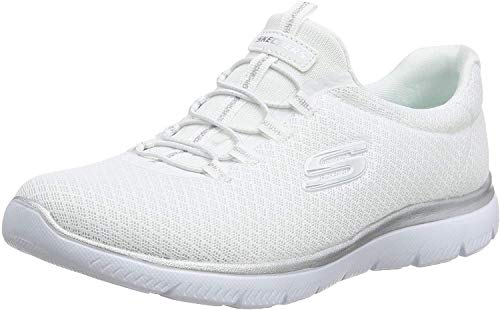 Skechers Women 12980 Low-Top Trainers, White (White/Silver), 7 UK  (40 EU)