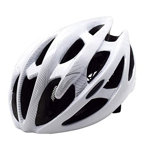 QIDUll Casco de Bicicleta para Hombre, Casco cómodo y Transpirable, Bicicleta de montaña de Carretera Casco de Bicicleta Ciclo Ligero para Mujeres Adultas,White,size52~58CM