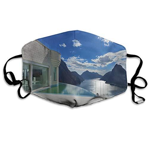 MundschutzAtmungsaktiveGesichtsmundabdeckungStaubdichter,Modern Summer Penthouse with Infinite Pool Ocean Sea Scenery Image,Gesichtsdekorationen