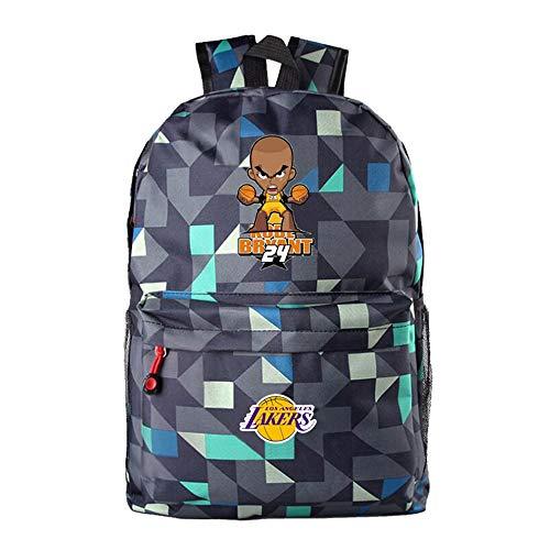 TFTREE Cartoon Q Kobe Basketball Lakers Kobe Nr. 24 Männer und Frauen Mittelschüler Umhängetasche Sportrucksack Canvas Bag Schwarz-Lingge blue