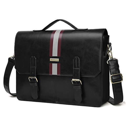 ECOSUSI Men's Briefcase PU Leather Shoulder Satchel Computer Bag with Back Pocket fits 15.6 inch Laptop, Black