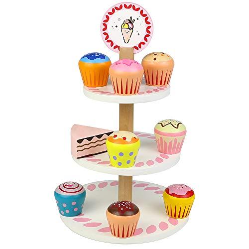 jerryvon Pastel de Madera Juguetes para Bebes/Niña/Niño Cacharritos Cocina Tarta Cumpleaños Juguete Accesorios Cocinita Juguete Regalo para Niños 3 4 5 años