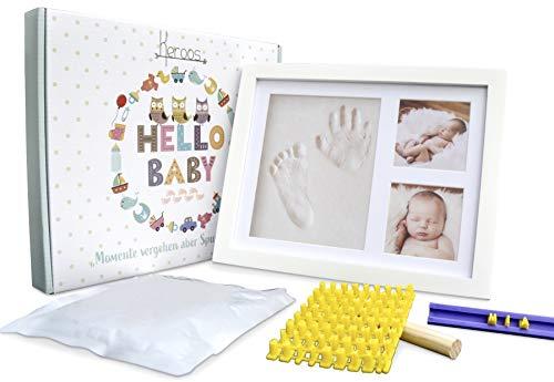 Baby Handabdruck und Fußabdruck Set inkl. Buchstaben Schablonen Set, Keroos Baby Holz Bilderrahmen mit Gipsabdruck, Babygeschenk für Neugeborene, Taufgeschenk, Newborn