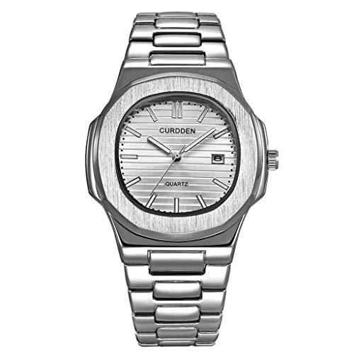 SWJM Uhren Herren Edelstahl Mode Nautilus Sportuhr Quarz Armbanduhren Business Relogio Masculino Reloj Hombre,Silver