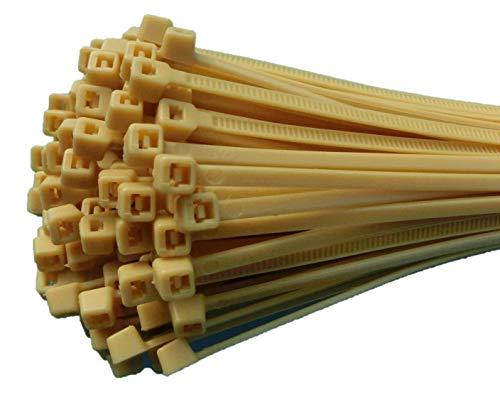 Fix&Easy Kabelbinders 2,5x100mm bamboe beige 100 stuks set voor rieten mat inkijkbescherming hek schaduwnet tuin omheining balkonleuningen wilgentenen wilgenschutting