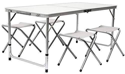 AMANKA Alu Campingtisch 120x60cm - Klapptisch Set mit 4 Stühlen - 3-Fach höhenverstellbarer Falttisch Grau