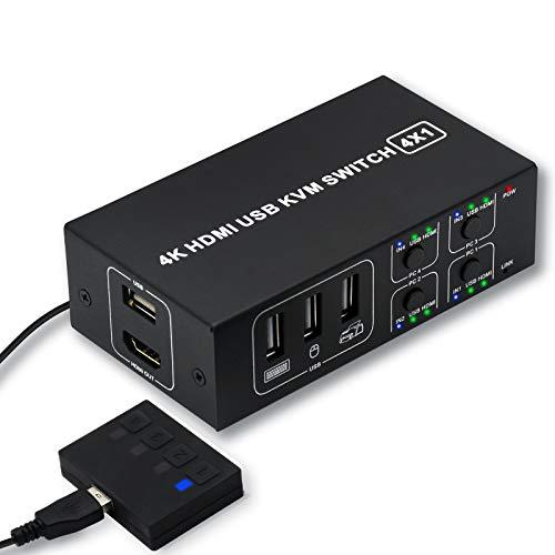 KVM Switch HDMI 4 Port Umschalter, IPPINKAN KVM Switch HDMI 4 Port Umschalter 4K @ 60Hz 4 In 1 Out KVM USB Switchbox für 4 PC Freigabe Tastatur Mausmonitor, kompatibel mit Laptop, PC, PS4, Xbox HDTV
