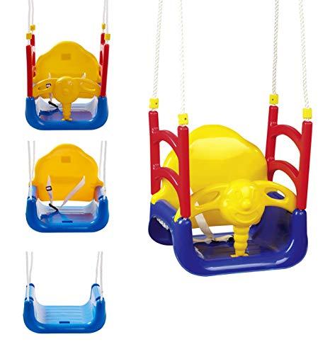Izzy Babyschaukel 3-in-1 Babysitz umbaubar Rückenlehne Outdoor Anschnallgurt Abnehmbarer Bügel Schaukelsitz (3 in 1 Kinder Schaukel Kleinkind mitwachsend)