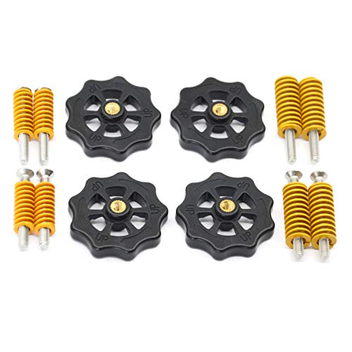 Befenybay 4PCS Upgraded Hand Twist Leveling Nut Diameter 40mm+ 4PCS Hot Bed Light Load Compression Mould Die Springs + 4PCS M4X35 Screws for 3D Printer
