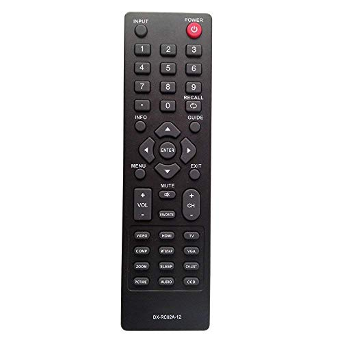 Elekpia DX-RC02A-12 Remote Control Compatible with Dynex DX-32E250A12 DX-24E150A11 DX-19LD150A11 DX-L42-10A DX-L40-10A DX-L32-10A DX-19E220A12 DX-24E310NA15 DX-L26-10A DX-R20TR LCD LED HDTV TV