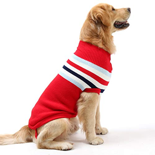 iFCOW huisdier hond trui jas warme jas puppy kat winter kleding kleding, S 16inch, Red Stripe