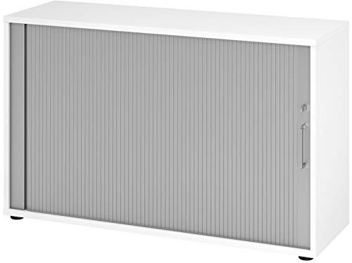 bümö® Aktenschrank mit Rollladen | Rollladenschrank für Aktenordner | Büroschrank für Akten | Büromöbel | Rolladenschrank in 6 Farben & 2 Höhen (weiß/Silber, Höhe: 74 cm)