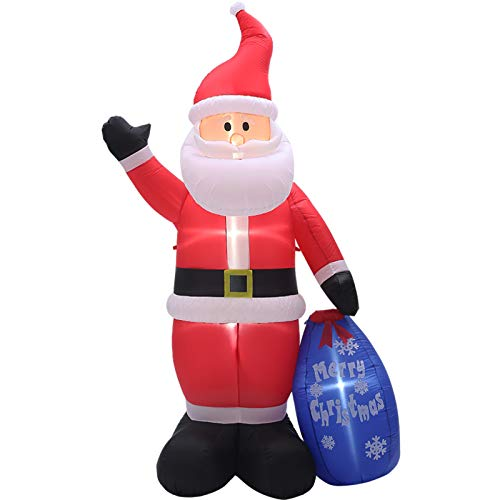 PRAISUN 8Ft Christmas Inflatable Yard Decor, Blow Up Lighted Gift Bag Santa Claus, Outdoor Indoor Holiday Decorations with LED Lights for Home Lawn