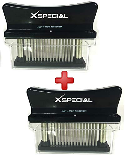 Accesorios de Cocina > Black Just-4-Meat Tenderizer Tool By XSpecial - Professional Kitchen Gadgets Handheld for Tenderizing: Steak Poultry Brisket (2 Pack, 48 Needles Tenderizers, Individually Boxed)