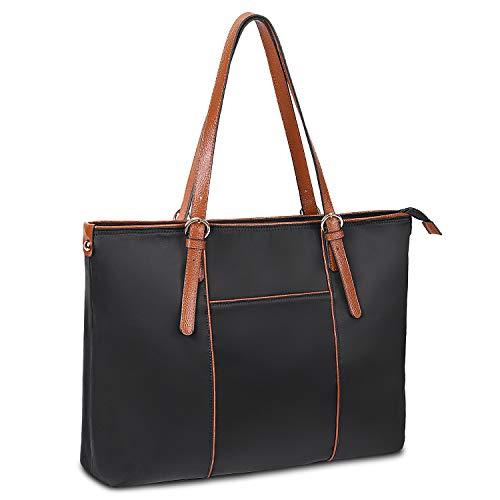 Gywon Laptop Tote 15.6 Inch Work Bag Purse Shoulder Bag Lightweight Water Resistant Nylon Totes Genuine Leather Handle Handbag for Women Teacher