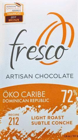 Fresco Chocolate Single Bars (1 Bar) … (Dominican Republic 72% Light Roast, Subtle Conche)