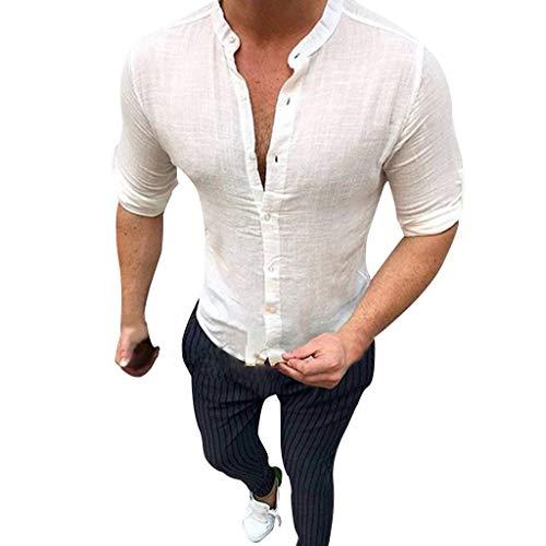 FRAUIT Camicia Uomo Lino Slim Fit Camicia Ragazzo Regular Fit Manica Lunga Collo Coreana Camicie Uomini Maniche Lunghe Vintage T Shirt Strane Estive Maglietta Lino con Bottoni Maglia