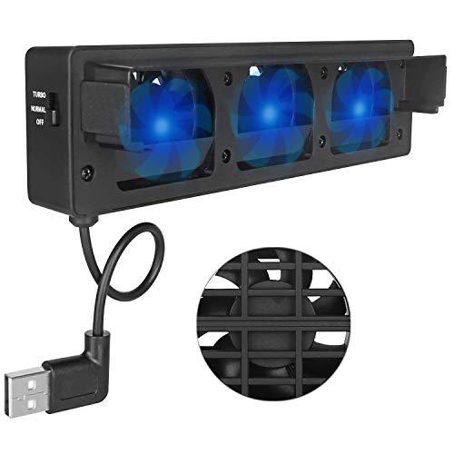Invero Externer leistungsstarker USB-Ventilator mit 3 integrierten Kühlerlüftern mit Normal- und Turbo-Modus für Nintendo Switch Dock.