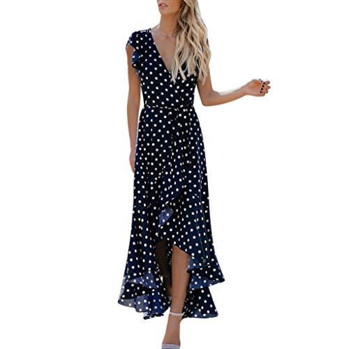Lialbert Gepunktetes Dame Wickelkleid Strandkleid Figurbetonts V-Ausschnitt Punktmuster FlüGeläRmeln Elegant Ballkleid Overlay Asymmetrischem Saum Swing-Kleid Blau