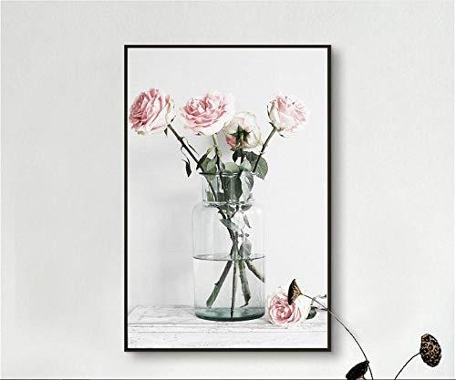 Roze roos glazen vaas eenvoudige stijl poster decoratie foto 60x80cm (geen frame)