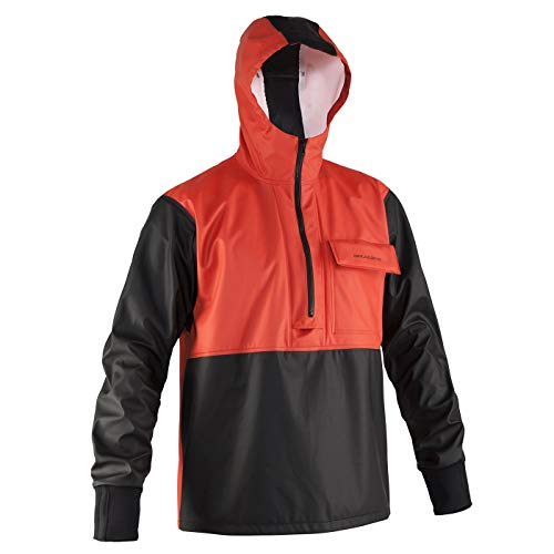 Grundens Men's Neptune Commercial Fishing Pullover Anorak | Waterproof, Adjustable, Orange, Large