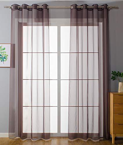 2er-Pack Ösen Gardinen Transparent Vorhang Set Wohnzimmer Voile Ösenvorhang Bleibandabschluß HxB 225x140 cm Braun, 203322