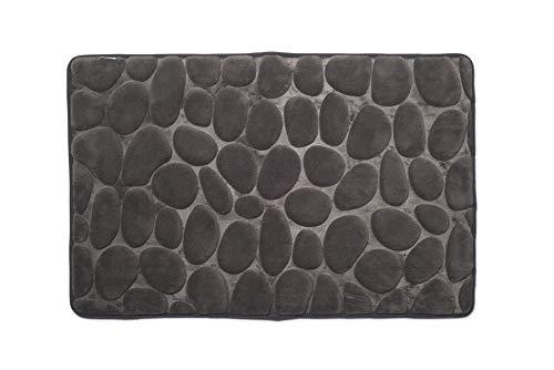 Croydex–Alfombrilla de baño de algodón con la Parte Trasera Antideslizante, Tela, Gris, 1 x 50 x 80 cm