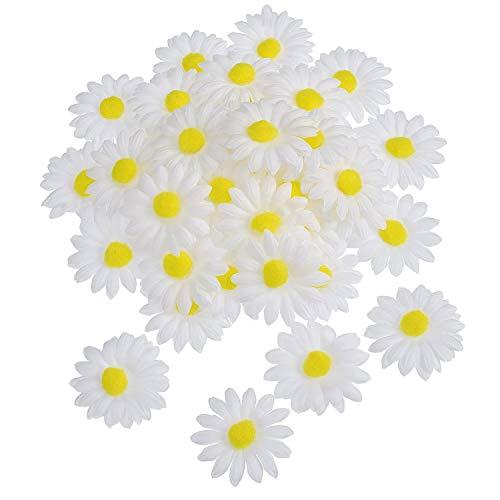Anjing 50 Unidades de Tela de Margaritas para decoración de capó de Pascua para Manualidades Artificiales, Flores Falsas Blancas
