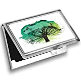 Ambesonne Willow Tree Card Holder, Blended Watercolor Leaf, Metal Card Wallet