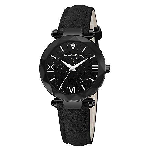 Neuer Trend Damen Armbanduhr mit Leder Armband, Frauen Minimalistisch Modisch Analog Quarz Ultradünn Uhren Damenuhr Elegant Wrist Watch Watches LEEDY