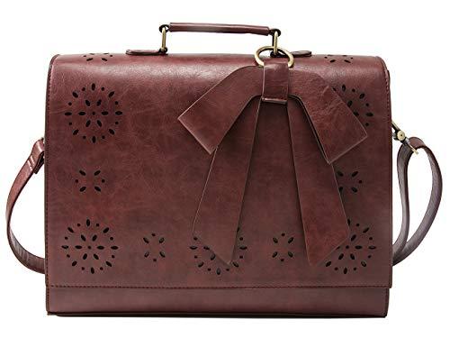 ECOSUSI Bolsas de Mensajero para Mujer Maletín de portadocumentos Cuero de PU portátil con Hombro Desmontable Bolso de maletín Profesor Mujer para Portátil de 14 '' para Negocios de Trabajo