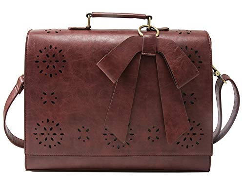 ECOSUSI Briefcase for Women Laptop Bag for School Briefcase Crossbody Messenger Bags Vegan Leather Satchel Purse Fit 14 Inches Laptop, Coffee