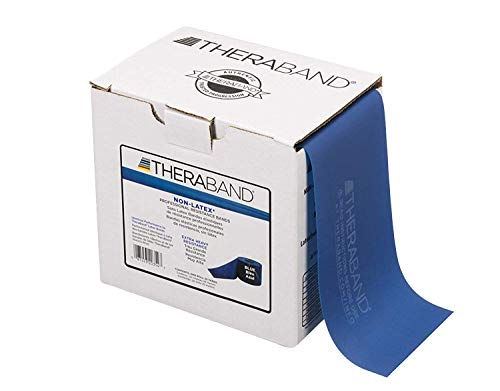 TheraBand Resistance Band 25 Yard Roll, Extra Heavy Blue Non-Latex Professional Elastic Bands For Upper & Lower Body Exercise, Physical Therapy, Pilates, Rehab, Dispenser Box, Intermediate Level 2
