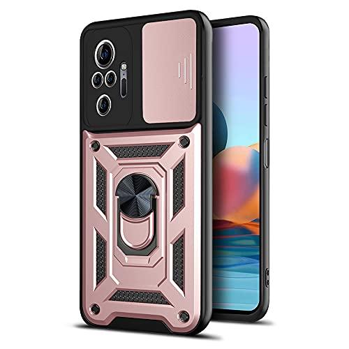 LOCLOUD Funda para Xiaomi Redmi Note 10 Pro, Protección de la Cámara Carcasa con Cubierta de Cámara Deslizante y Soporte de Anill PC Dura y TPU Silicone Anti-Choque Anti-arañazos Case – Oro Rosa