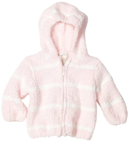 Angel Dear Baby-girls Infant Striped Chenille Hooded Jacket, Light Pink/Ivory, 0-6 Months