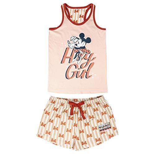 Cerdá Pijama de Minnie Mouse-Camiseta + Pantalon de Algodón Juego, Rosa, 14...