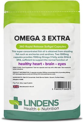 Lindens Omega 3 Extra Fish Oil 1000mg Capsules | 360 Pack | 1100mg Omega 3 Fatty acids DHA & EPA per 3 Capsules and Supports Normal Function of Healthy Heart, Brain & Eyes