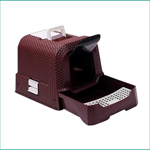 BoMiVa Toilette per gatti dell'animale domestico, scatola di lettiera, scatola di lettiera gatto con cappuccio, cestino, vassoio della spazzatura del rattan, scatola di rifiuti completamente recintati