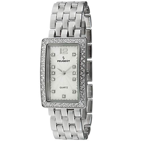 Peugeot Women's Tank Shape Wrist Watch with Analog Link Bracelet with Crystal Bezel