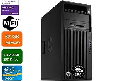 HP Z440 Business Workstation Desktop PC: Intel Xeon E5-1620-3.5 GHZ, 2 X 256GBSSD HDD, 32GB Memory, NVIDIA Quadro K2200, DVD-RW, Windows 10 Pro (Renewed)