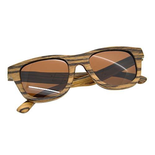 Casual Heren Zonnebril ZS-G001A Modieus Houten Frame PC Lens Bril Outdoor UV400 Beschermende Eyewear Zonnebrillenbruin