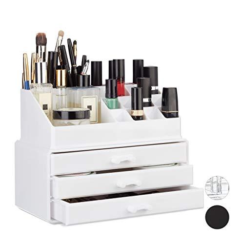 Relaxdays Make Up Organizer klein, 2-teilige Schminkaufbewahrung mit 3 Schubladen, stapelbares...