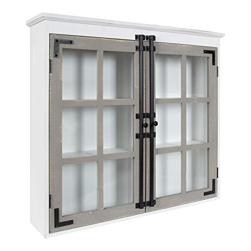 Kate and Laurel Hutchins Decorative Farmhouse Wood Wall Cabinet, 30 x 6.5 x 27.5, White and Gray, Wall Cabinet with Window Pane Glass Doors