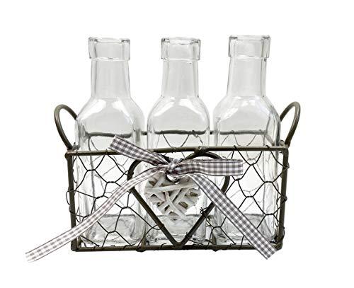 Vasen im Drahtkorb mit Herz, Landhaus Look, Vasen 3er Set, H: 17 cm - schöne, kleine Vase zur Tischdekoration